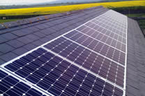 A business roof with 8kw of solar panels on it