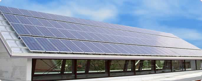 Commercial business solar panel system on roof of a company