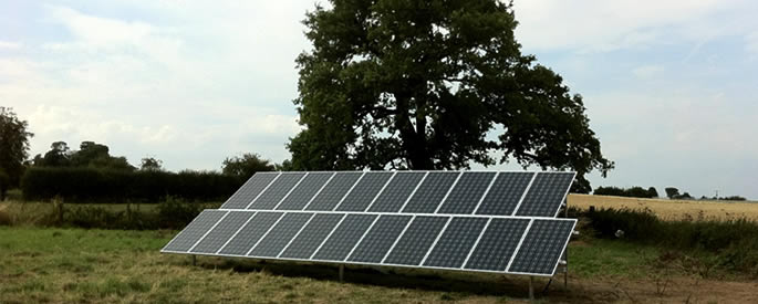 Commercial solar panels on a ground frame
