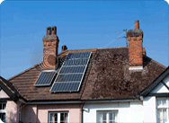 Solar panels on a roof of a private home