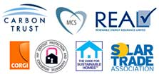 Logos of the regulators that approve solar panel PV installers for our industry